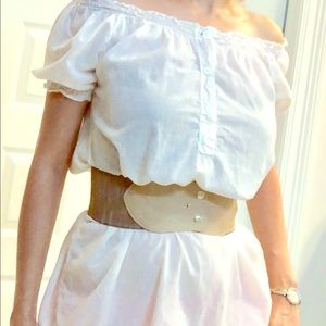 White off shoulder tunic top